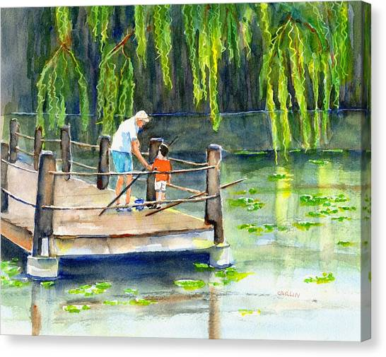 Grandpa Canvas Print - Fishing With Grandpa by Carlin Blahnik CarlinArtWatercolor