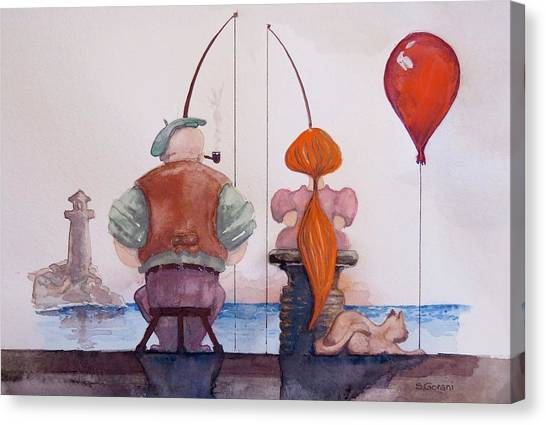 Fishing With Grandpa Canvas Print