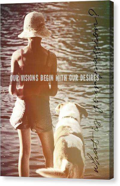 Fishing With The Pup Quote Canvas Print by JAMART Photography