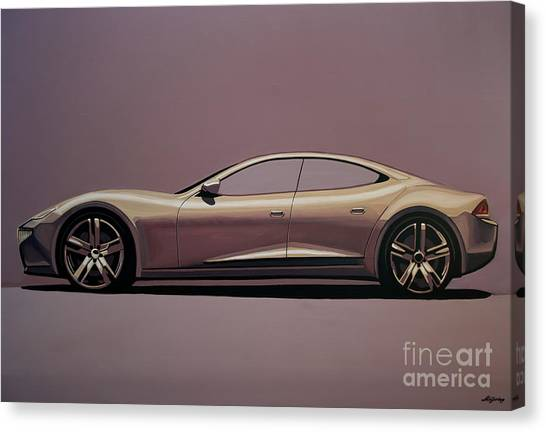 Champagne Canvas Print - Fisker Karma 2012 Painting by Paul Meijering