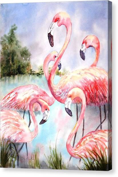 Five Flamingos Canvas Print