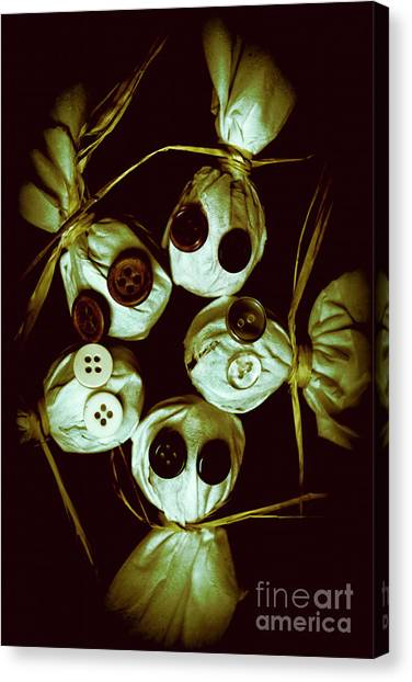 Horror Canvas Print - Five Halloween Dolls With Button Eyes by Jorgo Photography - Wall Art Gallery