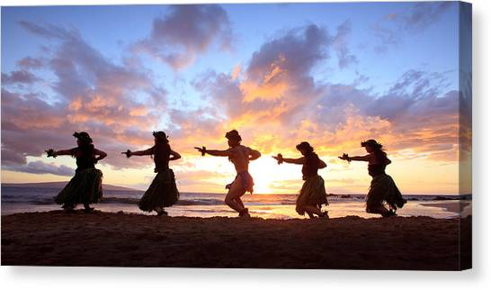 Five Hula Dancers At Sunset Canvas Print