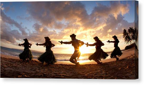 Five Hula Dancers On The Beach Canvas Print