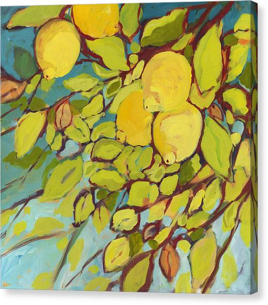 Fruits Canvas Print - Five Lemons by Jennifer Lommers