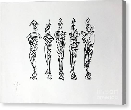 Canvas Print featuring the drawing Five Muses by James Lanigan Thompson MFA
