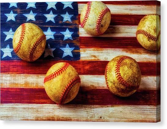Gay Flag Canvas Print - Five Old Baseballs by Garry Gay