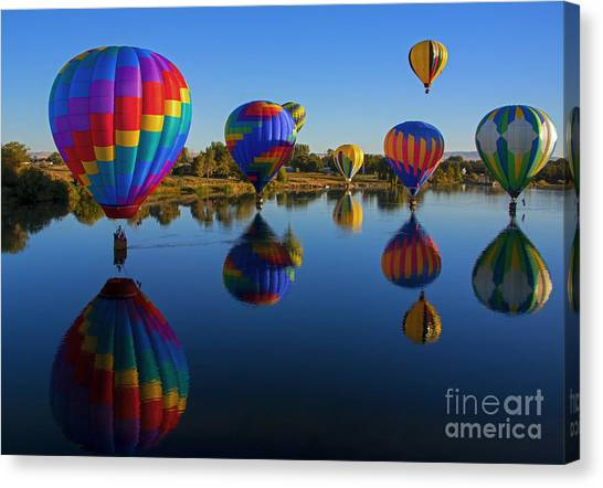 Hot Air Balloon Canvas Print - Five On The Water by Mike Dawson