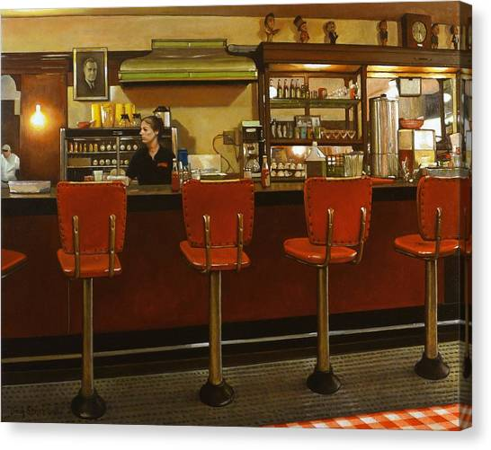 Coffee Shops Canvas Print - Five Past Six At The Mecca Cafe by Doug Strickland