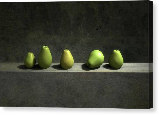 Green Canvas Print - Five Pears by Cynthia Decker