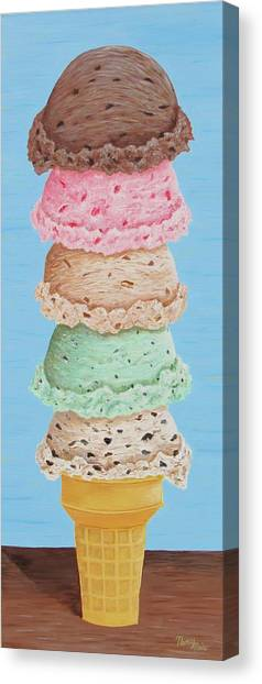 Canvas Print featuring the painting Five Scoop Ice Cream Cone by Nancy Nale