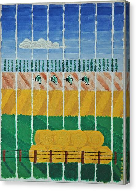 Five Tractors Canvas Print
