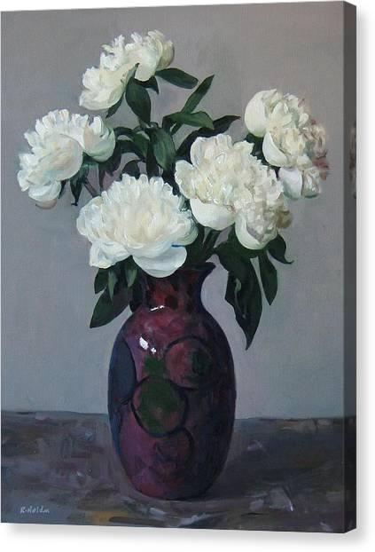 Five White Peonies In Purple Vase Canvas Print