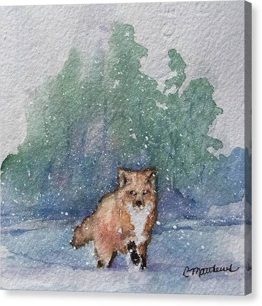 Fox In Snow Canvas Print