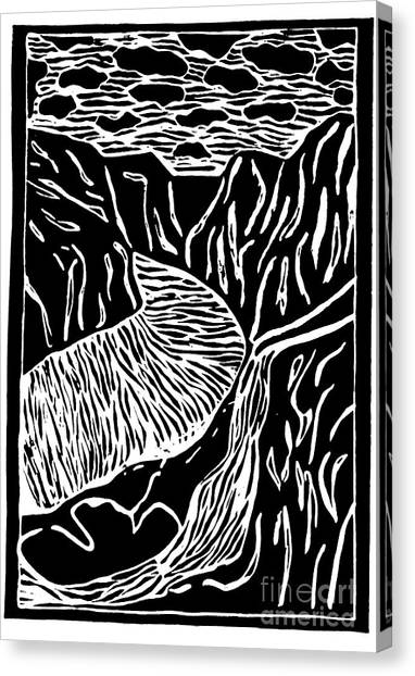Fjord Norway - Limited Edition Linocut Print Canvas Print by Sascha Meyer