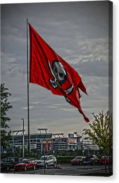 Flag And Stadium Canvas Print by Chauncy Holmes