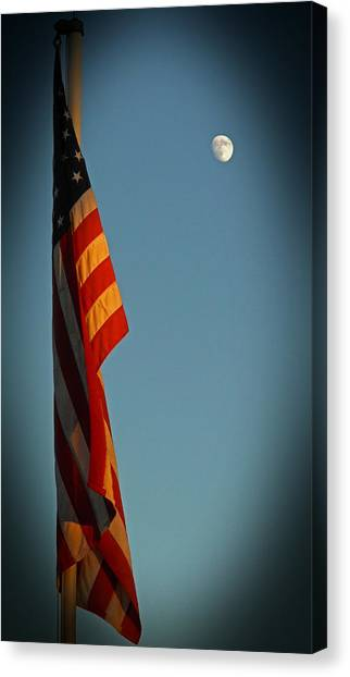 Flag And The Moon Canvas Print