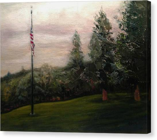 Flag Pole At Harborview Park Canvas Print