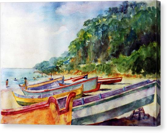 Flag Boat Crashboat Beach Canvas Print by Estela Robles