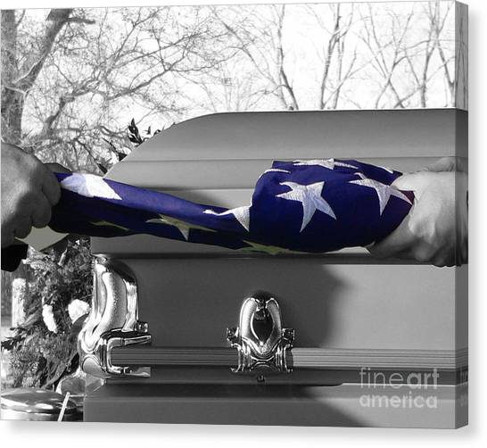 Flag For The Fallen - Selective Color Canvas Print