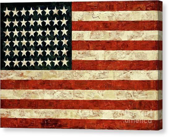 Jasper Johns Canvas Print - Flag, Jasper Johns, 1954 by Jasper Johns