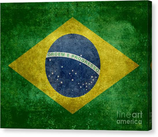 Brazilian Canvas Print - Flag Of Brazil Vintage 18x24 Crop Version by Bruce Stanfield
