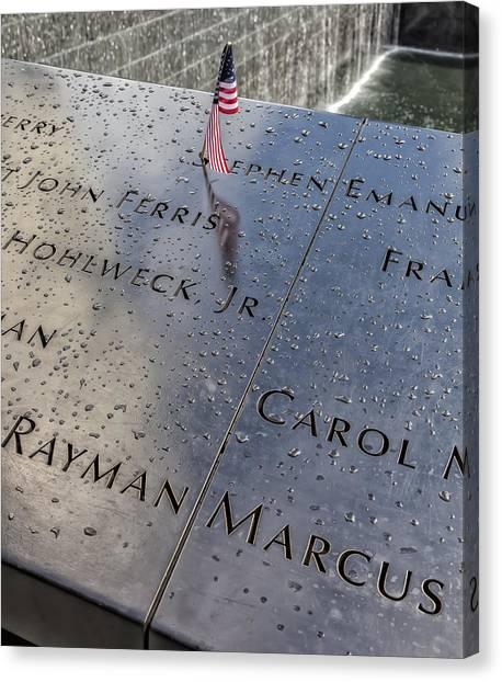 Flag World Trade Center Memorial July 4 2015 Canvas Print by Robert Ullmann