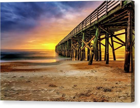 Flagler Beach Pier At Sunrise In Hdr Canvas Print