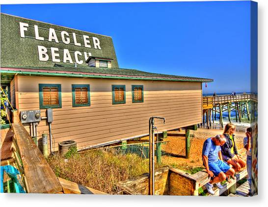 Flagler Beach Canvas Print - Flagler Pier Postcard by Andrew Armstrong  -  Mad Lab Images