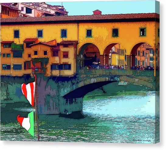 Flags At Ponte Vecchio Bridge Canvas Print