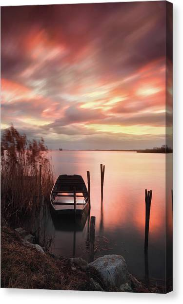 Canvas Print featuring the photograph Flame In The Darkness by Davor Zerjav