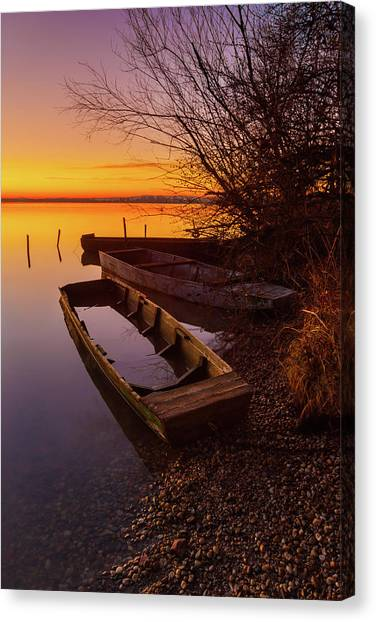 Canvas Print featuring the photograph Flame Of Dawn by Davor Zerjav