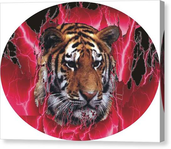 Flame Tiger Canvas Print by Kathy Frankford