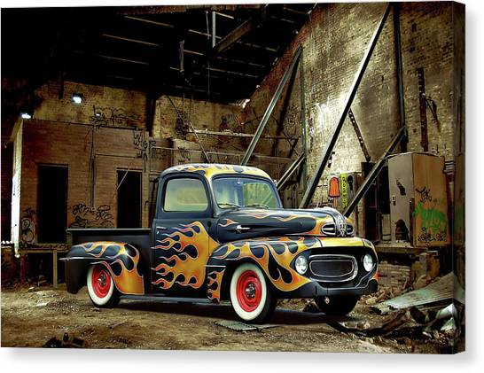 Flamed Pickup Canvas Print