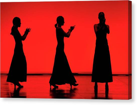 Flamenco Red An Black Spanish Passion For Dance And Rithm Canvas Print