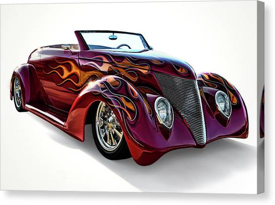 Flames Canvas Print - Flamin' Red Roadster by Douglas Pittman