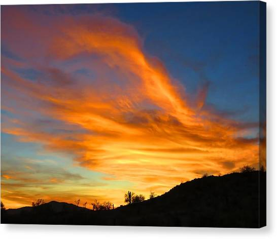 Flaming Hand Sunset Canvas Print