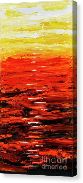 Canvas Print featuring the painting Flaming Sunset Abstract 205173 by Mas Art Studio