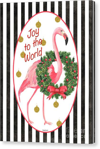 Christmas Art Canvas Print - Flamingo Amore 2 by Debbie DeWitt