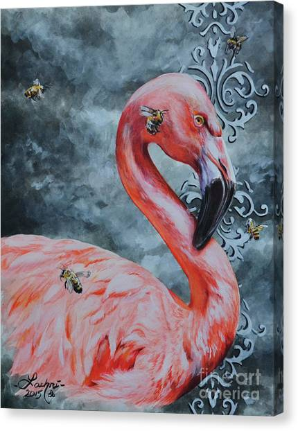 Flamingo And Bees Canvas Print