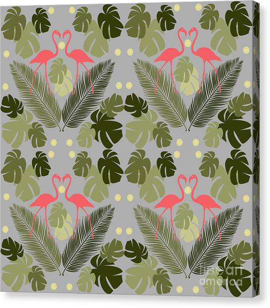 Repeat Canvas Print - Flamingo And Palms by Claire Huntley