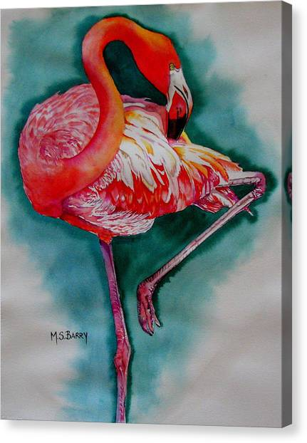 Flamingo Ballerina Canvas Print