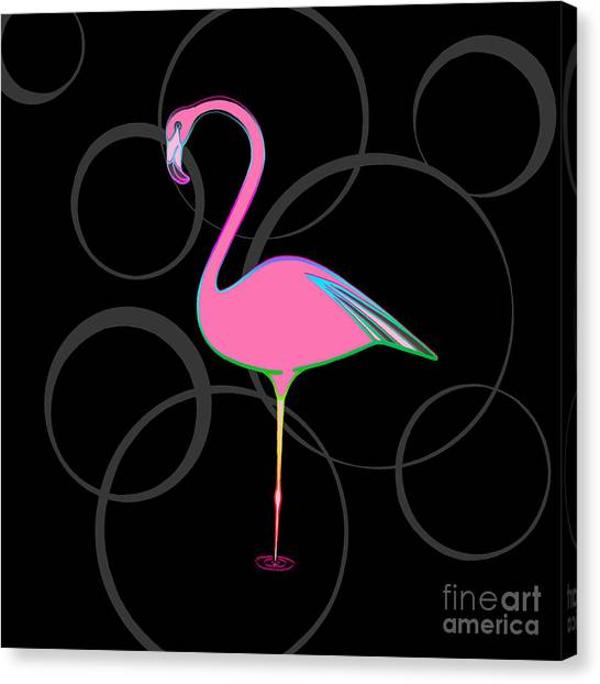 Flamingo Bubbles No 1 Canvas Print