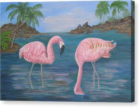 Flamingo Cove Canvas Print by Mikki Alhart