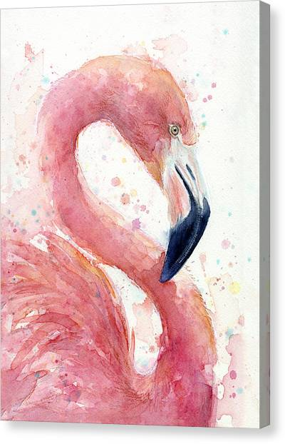 Flamingos Canvas Print - Flamingo - Facing Right by Olga Shvartsur