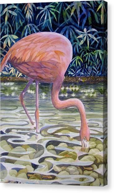 Flamingo Fishing Canvas Print