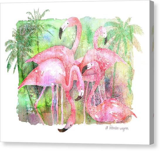 Flamingos Canvas Print - Flamingo Five by Arline Wagner