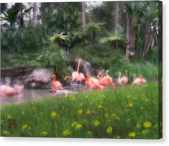 Flamingo Garden Canvas Print
