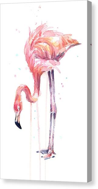 Flamingos Canvas Print - Flamingo Illustration Watercolor - Facing Left by Olga Shvartsur