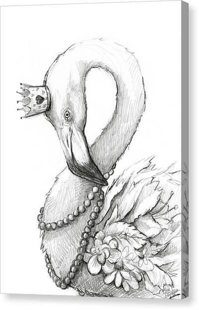Necklace Canvas Print - Flamingo In Pearl Necklace by Olga Shvartsur